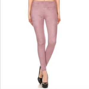Pants - Mauve Faux Suede Leggings